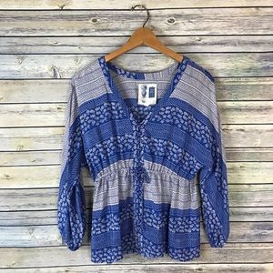 Edme & Esyllte Blue & White Printed Silk Blouse